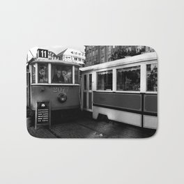 Cafe in the tram in the historical part of Prague. Bath Mat