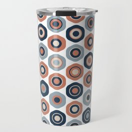Buttons. Cute Geometric Pattern in Navy Blue, Coral, Powder Blue, and White Travel Mug