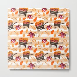 Fall Pattern Wheelbarrow Pumpkins Metal Print