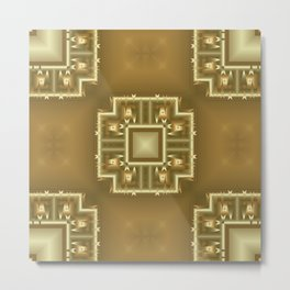 Gold and Cream Geometric Pattern  Metal Print