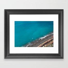 Positano Beach Umbrellas Framed Art Print