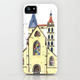Gothic Church in Germany whimsical watercolor painting iPhone Case
