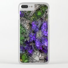 VIOLETS IN STAINED GLASS Clear iPhone Case