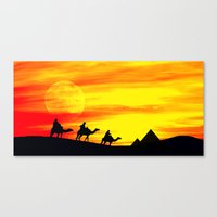 egyptian Canvas Prints featuring Egyptian supermoon by Pirmin Nohr