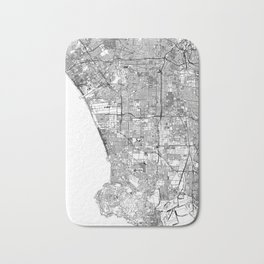 Los Angeles White Map Bath Mat
