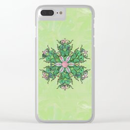 Spring Entropy in Greens Mandala Clear iPhone Case