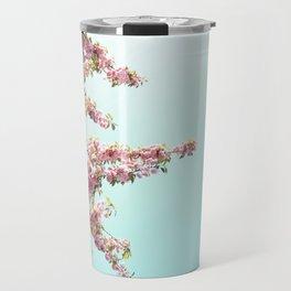 Pink Flowers on Aqua Blue Travel Mug
