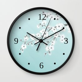 Cherry Blossoms Mint White Wall Clock