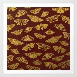 Golden Moths in Red Art Print