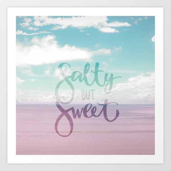 Salty but Sweet- Pink Summer Beach Sea Ocean Nature on #Society6 Art Print