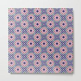 N2 | Red & Blue Original Traditional Moroccan Artwork. Metal Print