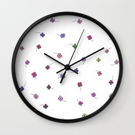 Colorful Clovers Wall Clock
