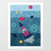 spaceship Art Prints featuring Spaceship by Kakel
