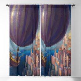 Marvelous Spectacular Fantasy Castle Hot Air Balloon Air Ship 1001 Nights Dreamland Ultra HD Blackout Curtain