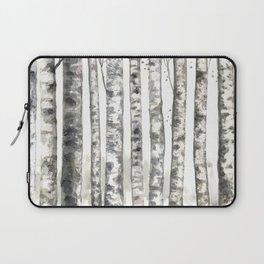 Birch, black white watercolor painting Laptop Sleeve