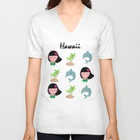 hawaii V-neck T-shirts featuring hawaii by Sucoco