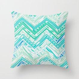 MINT ETHNIC CHEVRON Throw Pillow