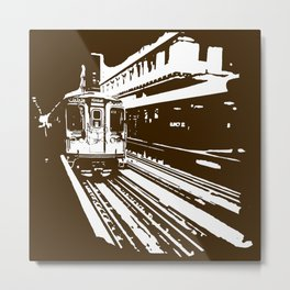 Brown Line Outline Stencil Metal Print
