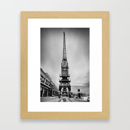 Dockyard crane mono Framed Art Print