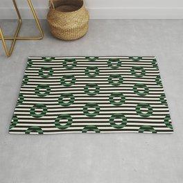 stripes & circles-leaf green Rug