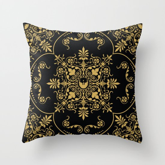 Decorative Pattern in Black and Gold Throw Pillow by Jon Hernandez Society6