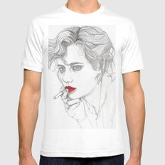 GIRL With The CIGARETTE Mens Fitted Tee White MEDIUM