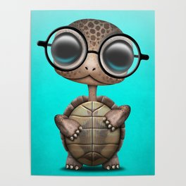 Cute Nerdy Turtle Wearing Glasses Poster