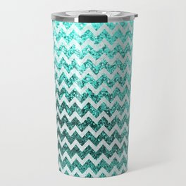 Glitter Sparkly Bling Chevron Pattern (aqua) Travel Mug