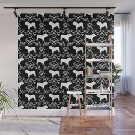 English Bulldog silhouette florals black and white minimal dog breed pattern print gifts bulldogs Wall Mural