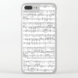 Sheet Music Black and White Pattern Clear iPhone Case