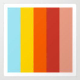 Retro Colors Summer Stripes Vibe Art Print