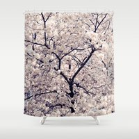 cherry blossom Shower Curtains featuring Cherry Blossom * by Neon Wildlife