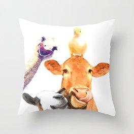 Farm Animal Friends Throw Pillow