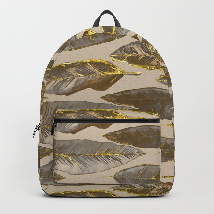 Gold Feather Pattern brown beige Backpack