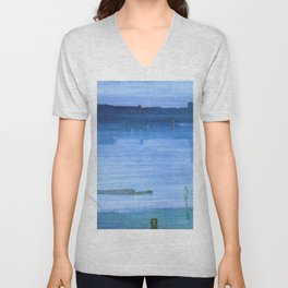 Nocturne Blue And Silver Chelsea By James Mcneill Whistler | Reproduction Unisex V-Neck