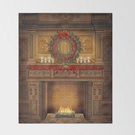 Christmas Fireplace Throw Blanket