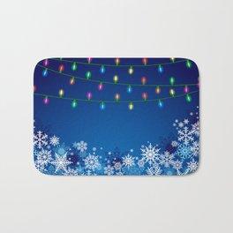 Christmas lights and snowflakes Bath Mat