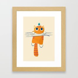 Fat cat, little bird Framed Art Print
