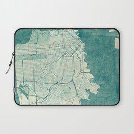 San Francisco Map Blue Vintage  Laptop Sleeve