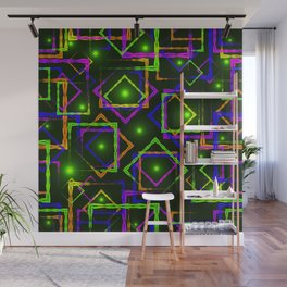 Bright diamonds and squares with highlights in the intersection on a green background. Wall Mural