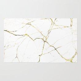 White & Gold Minimal Marble Rug