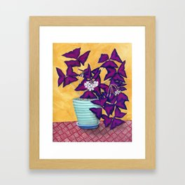 Purple Shamrock Houseplant Painting Framed Art Print