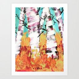 Fall Birchwood Trees Art Print