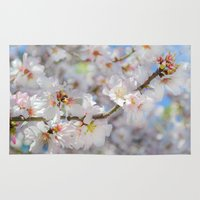 cherry blossoms Area & Throw Rugs featuring Cherry Blossoms by Heidi Fairwood