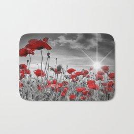 Idyllic Field of Poppies with Sun Bath Mat
