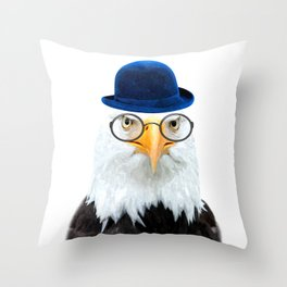 Funny Eagle Portrait Throw Pillow