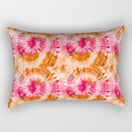 Summer Vibes Tie Dye Spirals Magenta Orange Rectangular Pillow