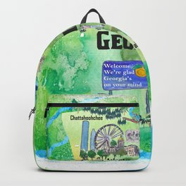 USA Georgia State Travel Poster Map with Tourist Highlights Backpack