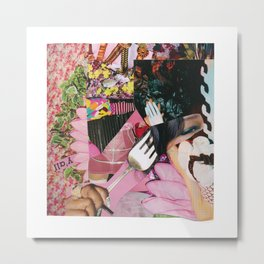 let them eat cake! a pink and green paper collage Metal Print