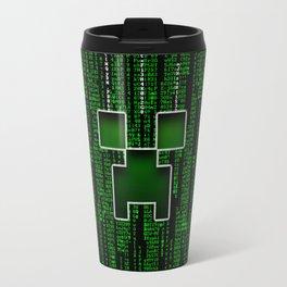 Maincraft Creepers Face In Matrix Travel Mug